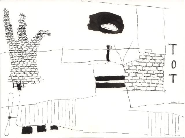 1990 : Sous-marin défonçant le Mur de Berlin sous l'Oeil avide d'un Extraterrestre